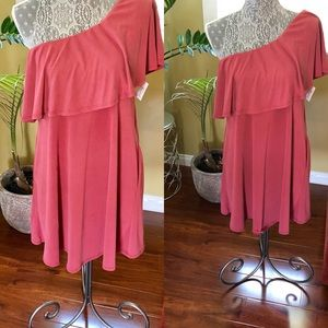 Brass Plum one shoulder dress